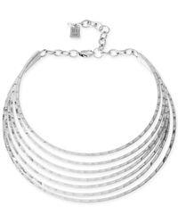 Robert Lee Morris - Metallic Silver-Tone Hammered Multi-Row Collar Necklace - Lyst