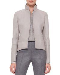 Akris - Gray Long-sleeve Leather Tailcoat Jacket - Lyst