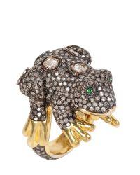 Bibi Van Der Velden - Brown Frog Ring - Lyst