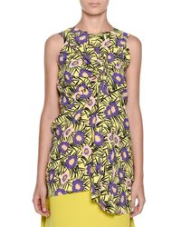 Marni - Multicolor Floral-print Sleeveless Wrap-front Top - Lyst