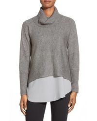 Eileen Fisher | Gray Boxy Wool Blend Turtleneck Top | Lyst