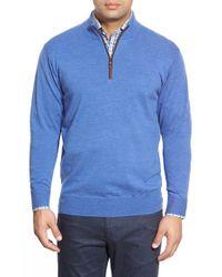 Peter Millar | Brown Leather Trim Quarter Zip Pullover Sweater for Men | Lyst