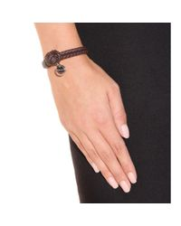 Bottega Veneta - Black Knot Woven Leather Bracelet - Lyst