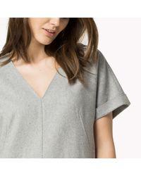 Tommy Hilfiger | Gray Wool Short Sleeve Dress | Lyst