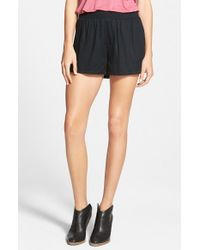 RVCA - Black 'walked Out' Mid Rise Shorts - Lyst
