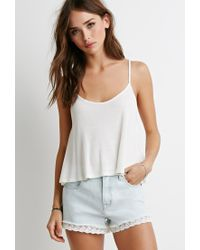 Forever 21 - Blue Lace-trimmed Denim Shorts - Lyst