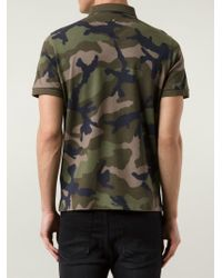 Valentino - Green Camouflage Polo Shirt for Men - Lyst