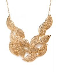 Forever 21 | Metallic Cascading Leaves Bib Necklace | Lyst