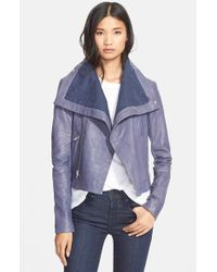 VEDA | Blue 'Max Classic' Leather Jacket | Lyst
