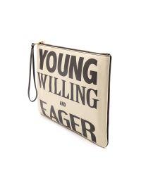 Karen Walker - Young Willing & Eager Clutch - Cream/Black - Lyst