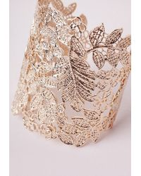 Missguided | Metallic Lace Effect Cut Out Cuff Gold | Lyst