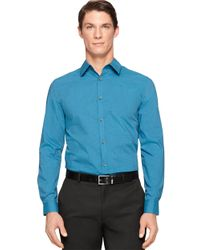 Calvin Klein | Blue Modern Fit Mini Check Poplin Sportshirt for Men | Lyst