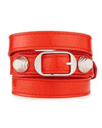 Balenciaga | Red Giant 12 Leather Bracelet | Lyst