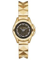 Karl Lagerfeld - Metallic Unisex Karl 7 Gold-Tone Stainless Steel Studded Bracelet Watch 30Mm Kl1036 - Lyst