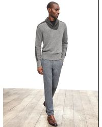 Banana Republic | Gray Ribbed Wool-blend Shawl-collar Pullover for Men | Lyst