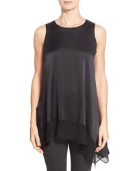 Eileen Fisher | Black Asymmetrical Silk Blend Tunic | Lyst