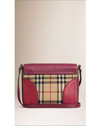 Burberry | Purple The Small Horseferry Check And Leather Cross-Body Bag  | Lyst