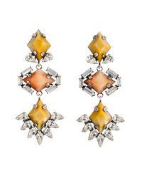 DANNIJO - Metallic Tabitha Crystal & Faux Pearl Chain Drop Earrings - Lyst