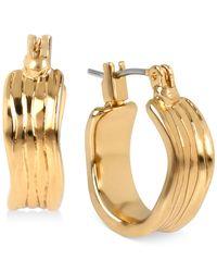 Robert Lee Morris | Metallic Bronze-tone Textured Hoop Earrings | Lyst