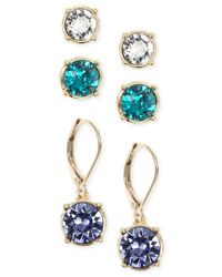 Nine West | Metallic Gold-tone Crystal Stud And Drop Earring Set | Lyst