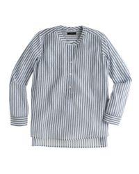 J.Crew - Gray Collarless Popover Shirt In Bengal Stripe - Lyst