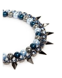 Joomi Lim | Multicolor 'vicious Love' Spike Faux Pearl Crystal Double Strand Necklace | Lyst