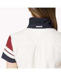 Tommy Hilfiger - Red Cotton Pique Colorblock Polo - Lyst