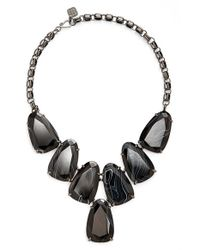 Kendra Scott | 'harlow' Necklace - Gunmetal Black Banded Agate | Lyst