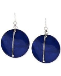 Kenneth Cole | Blue Silver-tone Chain-wrapped Shell Drop Earrings | Lyst