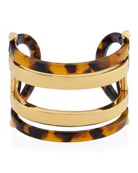 Tory Burch - Metallic Open Id Resin & Metal Cuff Bracelet - Lyst