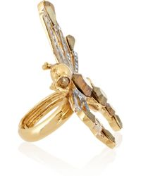 Roberto Cavalli - Metallic Goldplated and Silverplated Swarovski Crystal Dragonfly Ring - Lyst