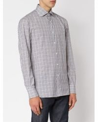 Isaia - White Checked Shirt for Men - Lyst