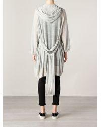 Il by Saori Komatsu - Gray Hooded Wrap Cardi-Coat - Lyst