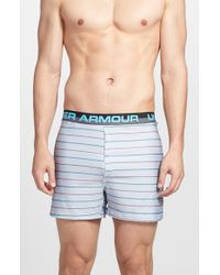 Under Armour | Blue 'boxerjock Stripe' Heatgear Boxer Briefs for Men | Lyst