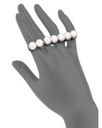 Lanvin | Metallic Faux Pearl Multi-finger Ring | Lyst