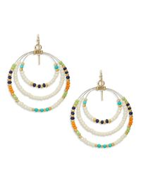 Lauren by Ralph Lauren | Metallic Beaded Gypsy Drop Hoop Earrings | Lyst