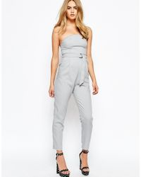Lola May - Gray Tailored Jumpsuit With D Ring Belt - Lyst