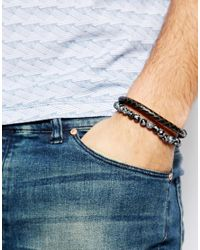 Simon Carter - Black Imon Carter Leather And Semi Precious Bracelet Pack Exclusive To Asos for Men - Lyst
