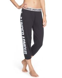 Under Armour | Black 'favorite' Fleece Capris | Lyst