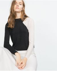 Zara | Black Cropped Two-tone Sweater | Lyst