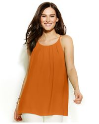 Vince Camuto | Orange Pleat-front Tank | Lyst