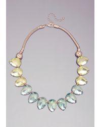 Bebe - Green Teardrop Ombre Necklace - Lyst