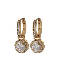 Betsey Johnson - Metallic Cz Crystal Small Hoop Circle Drop Earrings - Lyst