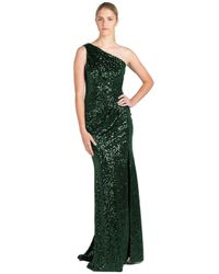 Badgley Mischka | Green Sequin One-shoulder Evening Gown | Lyst