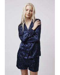 TOPSHOP | Blue Leaf Jacquard Pyjama Set | Lyst