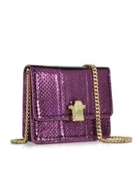 Roberto Cavalli | Purple Flap Mini Orchid Metallic Ayers Leather Shoulder Bag | Lyst
