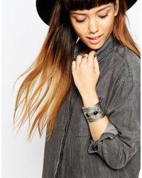ASOS | Metallic Circle Stone Cuff Bracelet | Lyst