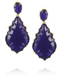 Oscar de la Renta | Blue Goldplated Cabochon Clip Earrings | Lyst