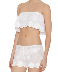 Miguelina - White Embroidered Daisy Bandeau - Lyst