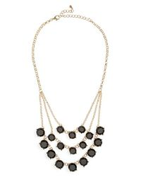 BP - Metallic Layered Round Stone Statement Necklace - Lyst
